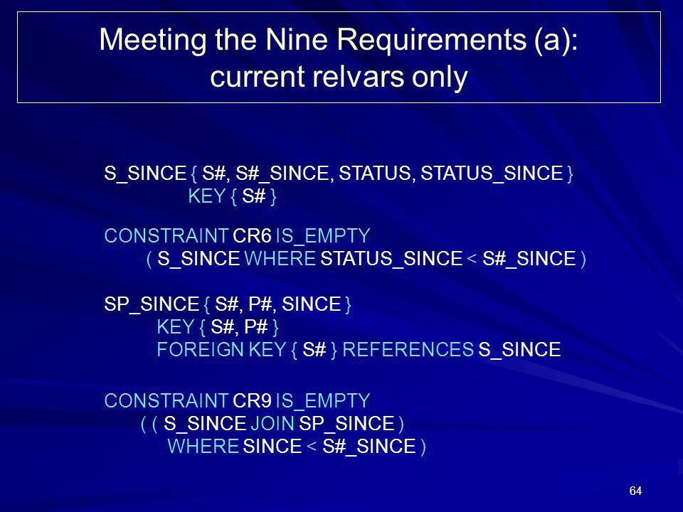 64 Meeting the Nine Requirements (a): current relvars only S_SINCE { S#, S#_SINCE, STATUS, STATUS_SINCE } KEY { S# } CONSTRAINT CR6 IS_EMPTY ( S_SINCE WHERE STATUS_SINCE < S#_SINCE ) SP_SINCE { S#, P#, SINCE } KEY { S#, P# } FOREIGN KEY { S# } REFERENCES S_SINCE CONSTRAINT CR9 IS_EMPTY ( ( S_SINCE JOIN SP_SINCE ) WHERE SINCE < S#_SINCE )