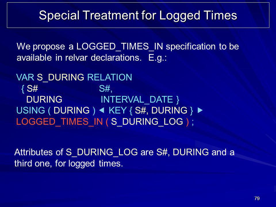 79 Special Treatment for Logged Times We propose a LOGGED_TIMES_IN specification to be available in relvar declarations.
