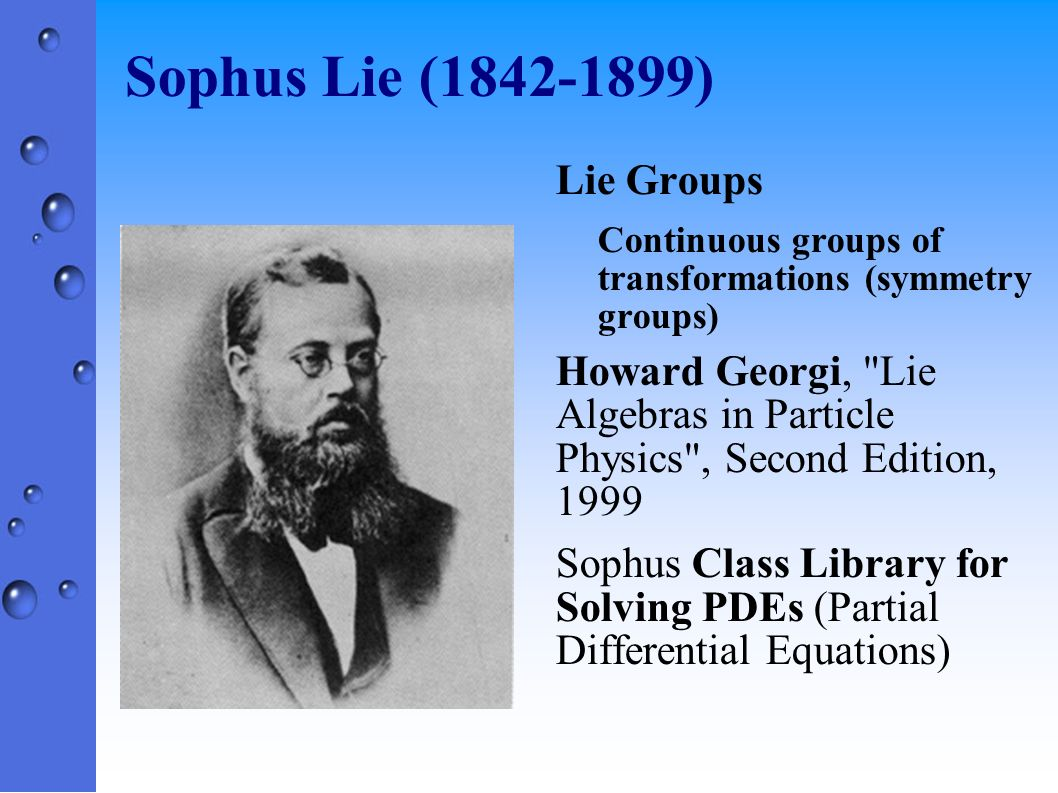 Sophus Lie (1842-1899) Lie Groups Continuous groups of transformations (symmetry groups) Howard Georgi,