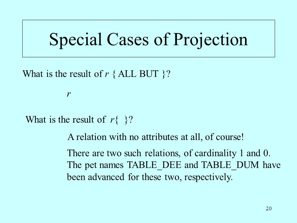 20 Special Cases of Projection What is the result of r { ALL BUT }? What is the result of r{ }? r A relation with no attributes at all, of course! The
