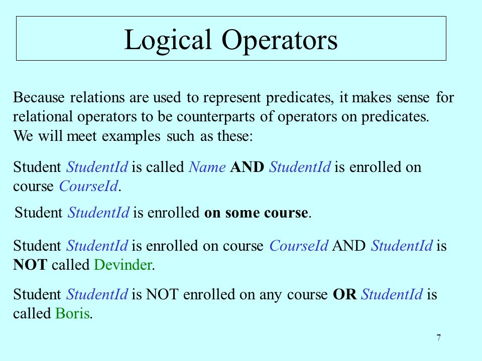 38 Restricted NOT StudentId is called Name AND is NOT enrolled on any course.