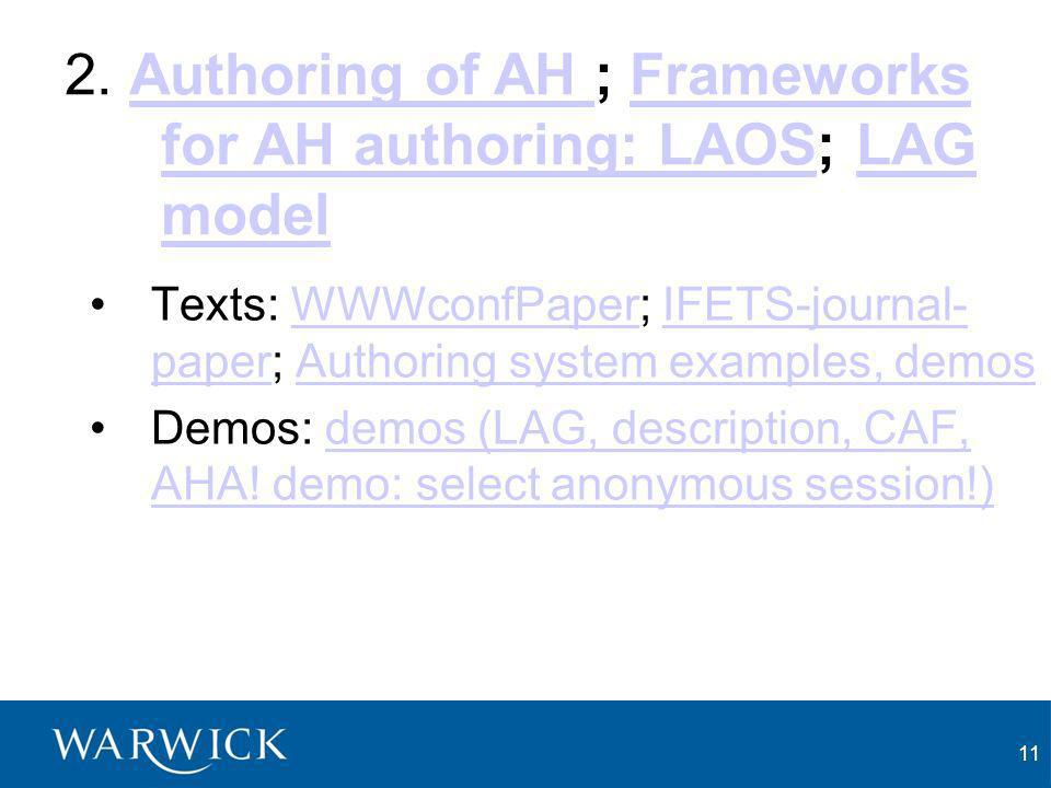 11 Texts: WWWconfPaper; IFETS-journal- paper; Authoring system examples, demosWWWconfPaperIFETS-journal- paperAuthoring system examples, demos Demos: demos (LAG, description, CAF, AHA.