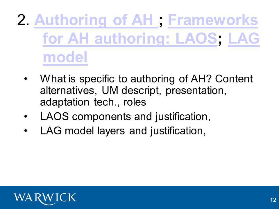 12 2. Authoring of AH ; Frameworks for AH authoring: LAOS; LAG modelAuthoring of AH Frameworks for AH authoring: LAOSLAG model What is specific to aut