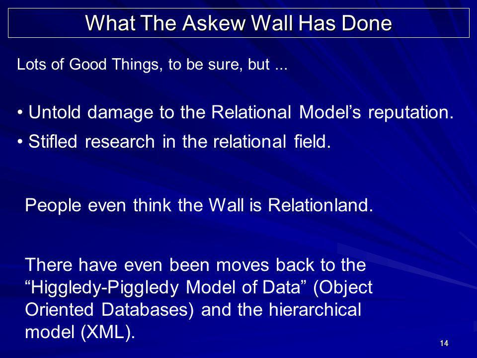 14 Lots of Good Things, to be sure, but... Untold damage to the Relational Models reputation. Stifled research in the relational field. People even th