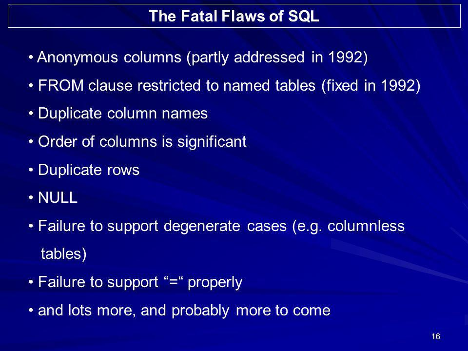 16 Anonymous columns (partly addressed in 1992) FROM clause restricted to named tables (fixed in 1992) Duplicate column names Order of columns is significant Duplicate rows NULL Failure to support degenerate cases (e.g.