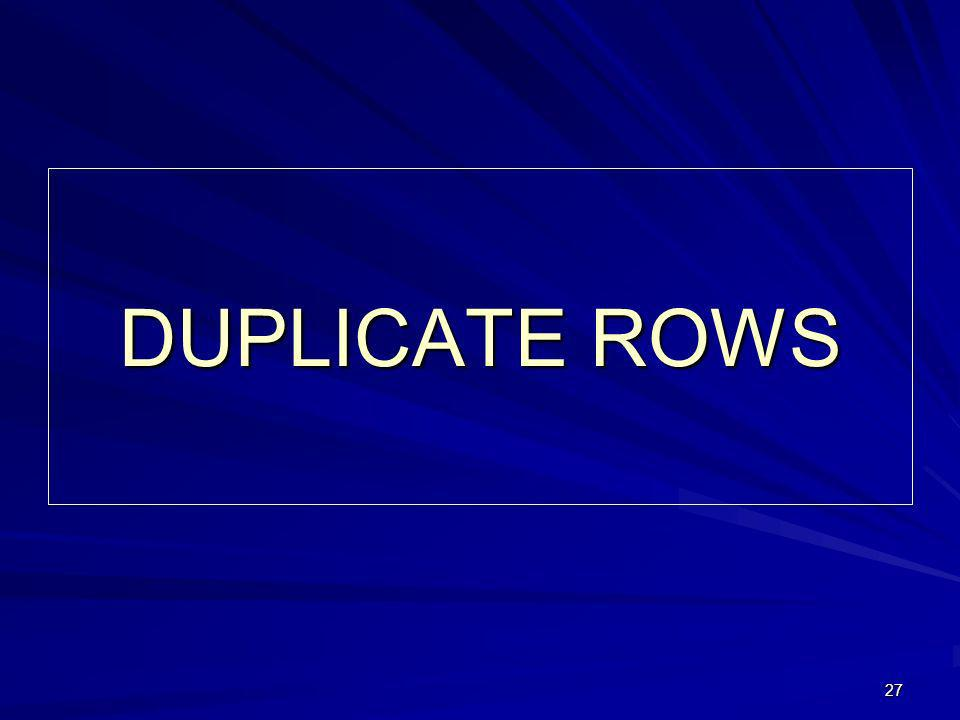 27 DUPLICATE ROWS