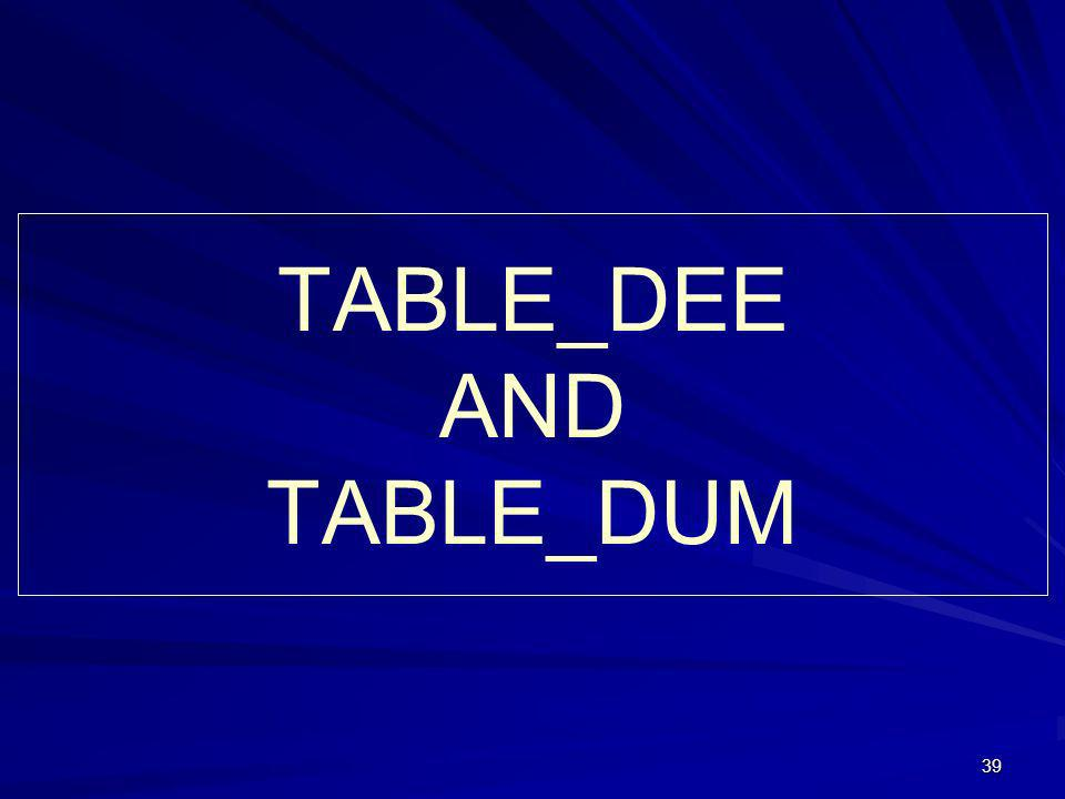 39 TABLE_DEE AND TABLE_DUM