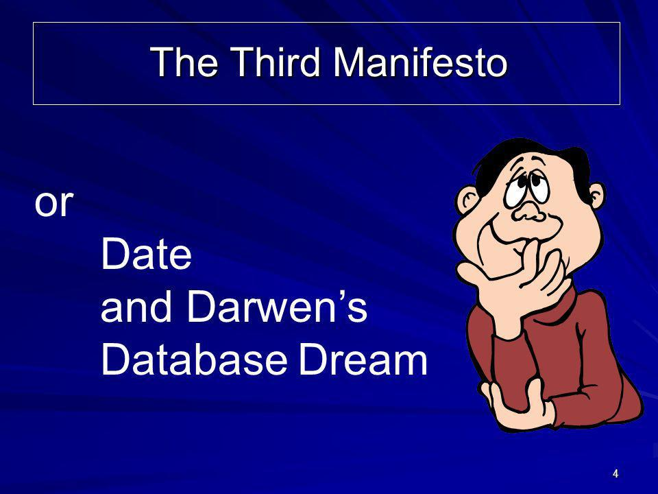 4 or Date and Darwens DatabaseDream The Third Manifesto