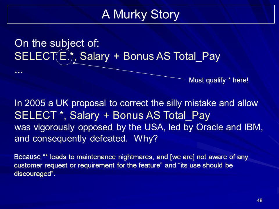 48 On the subject of: SELECT E.*, Salary + Bonus AS Total_Pay...