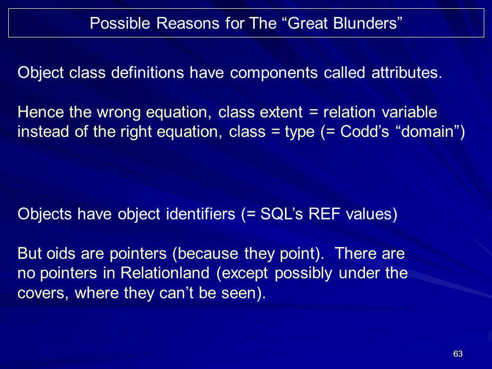 63 Possible Reasons for The Great Blunders Object class definitions have components called attributes. Hence the wrong equation, class extent = relati