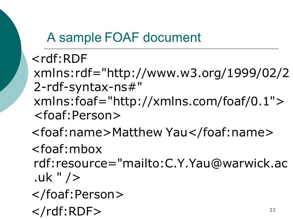 11 A sample FOAF document Matthew Yau