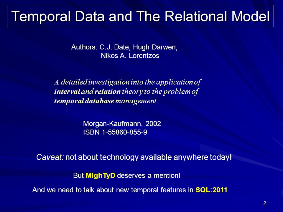 2 Temporal Data and The Relational Model Authors: C.J. Date, Hugh Darwen, Nikos A. Lorentzos A detailed investigation into the application of interval