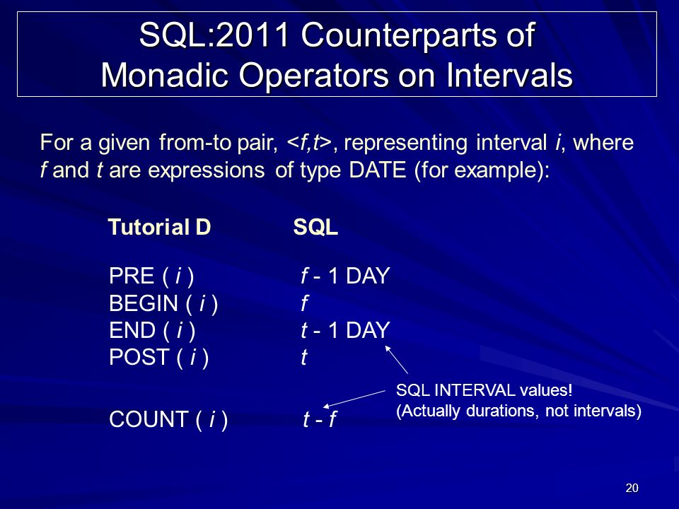 20 SQL:2011 Counterparts of Monadic Operators on Intervals For a given from-to pair,, representing interval i, where f and t are expressions of type DATE (for example): PRE ( i ) f - 1 DAY BEGIN ( i ) f END ( i ) t - 1 DAY POST ( i ) t COUNT ( i ) t - f Tutorial D SQL SQL INTERVAL values.