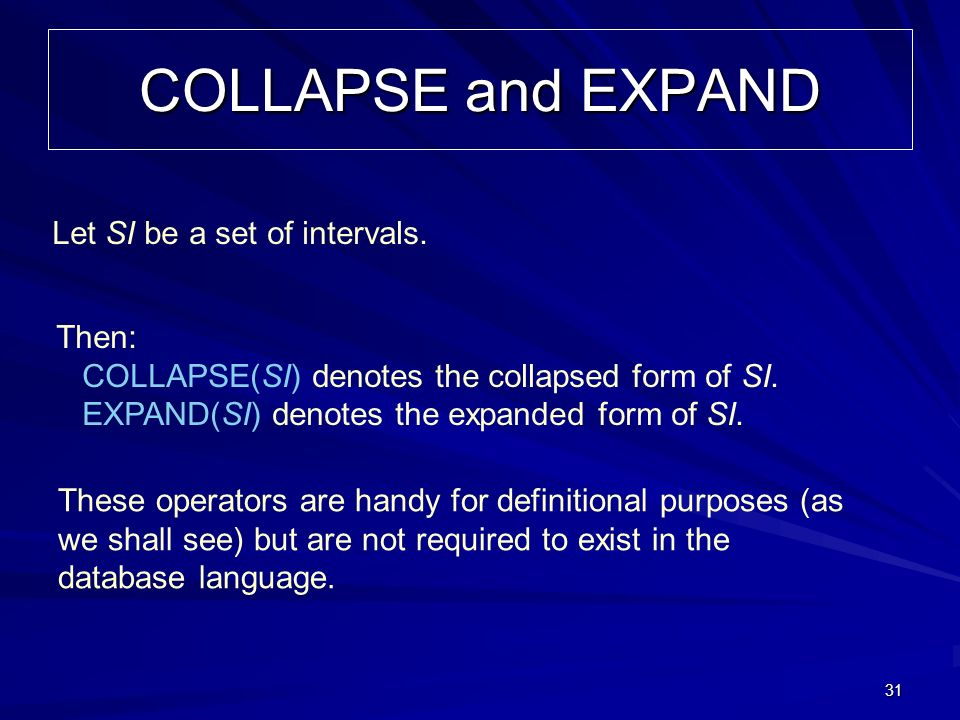 31 COLLAPSE and EXPAND Then: COLLAPSE(SI) denotes the collapsed form of SI.