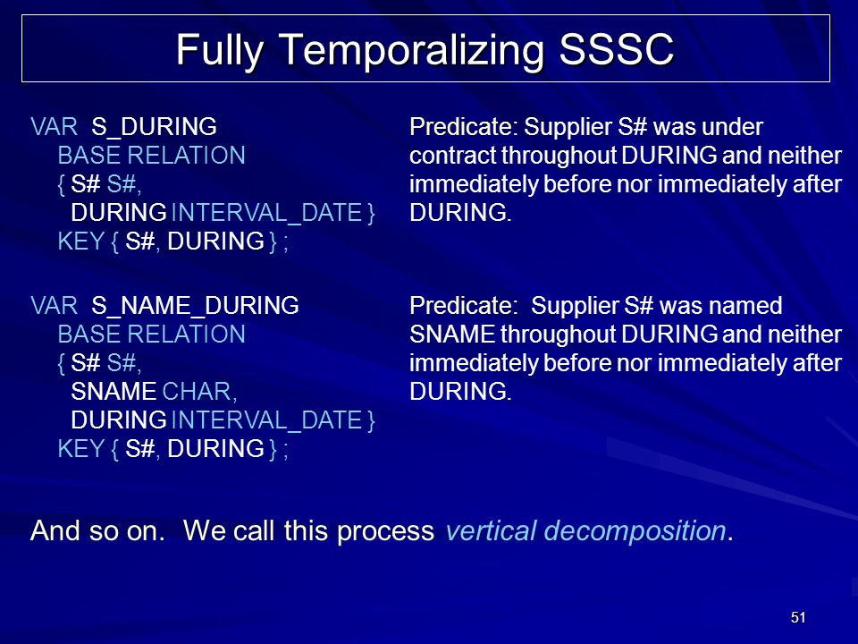 51 Fully Temporalizing SSSC VAR S_DURING BASE RELATION { S# S#, DURING INTERVAL_DATE } KEY { S#, DURING } ; Predicate: Supplier S# was under contract throughout DURING and neither immediately before nor immediately after DURING.