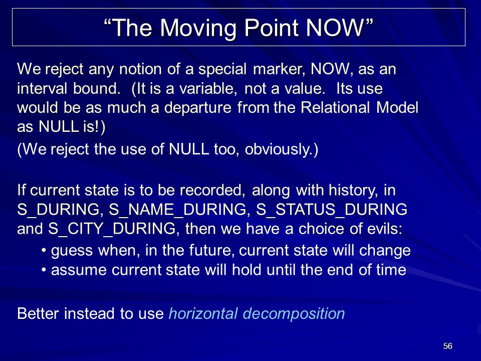 56 The Moving Point NOW We reject any notion of a special marker, NOW, as an interval bound.