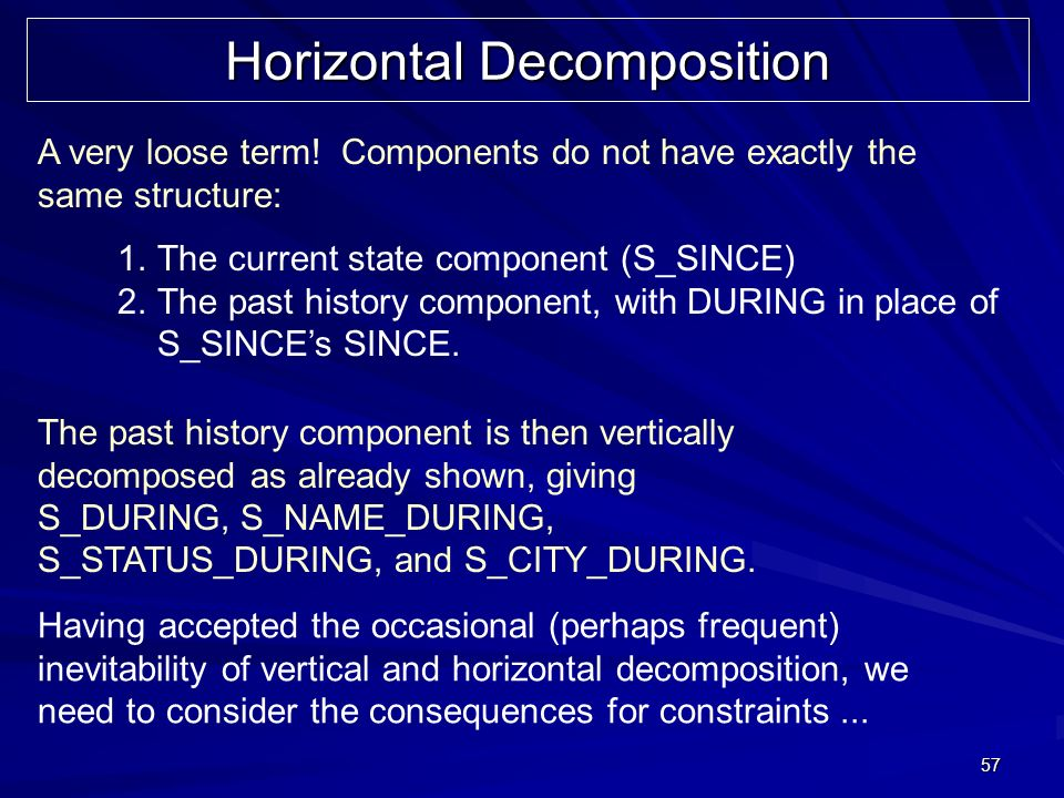 57 Horizontal Decomposition A very loose term.