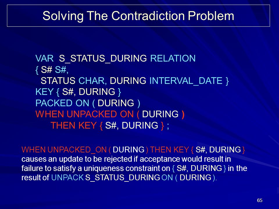 65 Solving The Contradiction Problem VAR S_STATUS_DURING RELATION { S# S#, STATUS CHAR, DURING INTERVAL_DATE } KEY { S#, DURING } PACKED ON ( DURING )