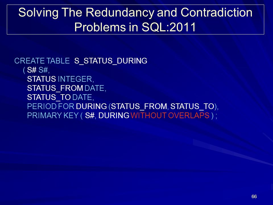 66 Solving The Redundancy and Contradiction Problems in SQL:2011 CREATE TABLE S_STATUS_DURING ( S# S#, STATUS INTEGER, STATUS_FROM DATE, STATUS_TO DATE, PERIOD FOR DURING (STATUS_FROM, STATUS_TO), PRIMARY KEY ( S#, DURING WITHOUT OVERLAPS ) ;