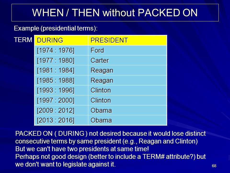 68 WHEN / THEN without PACKED ON Example (presidential terms): TERM DURINGPRESIDENT [1974 : 1976] Ford [1977 : 1980] Carter [1981 : 1984] Reagan [1985 : 1988] Reagan [1993 : 1996] Clinton [1997 : 2000] Clinton [2009 : 2012] Obama [2013 : 2016] Obama PACKED ON ( DURING ) not desired because it would lose distinct consecutive terms by same president (e.g., Reagan and Clinton) But we can t have two presidents at same time.