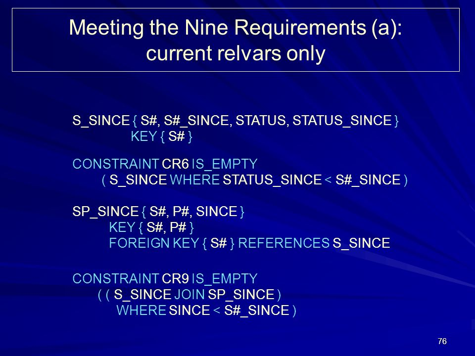 76 Meeting the Nine Requirements (a): current relvars only S_SINCE { S#, S#_SINCE, STATUS, STATUS_SINCE } KEY { S# } CONSTRAINT CR6 IS_EMPTY ( S_SINCE WHERE STATUS_SINCE < S#_SINCE ) SP_SINCE { S#, P#, SINCE } KEY { S#, P# } FOREIGN KEY { S# } REFERENCES S_SINCE CONSTRAINT CR9 IS_EMPTY ( ( S_SINCE JOIN SP_SINCE ) WHERE SINCE < S#_SINCE )