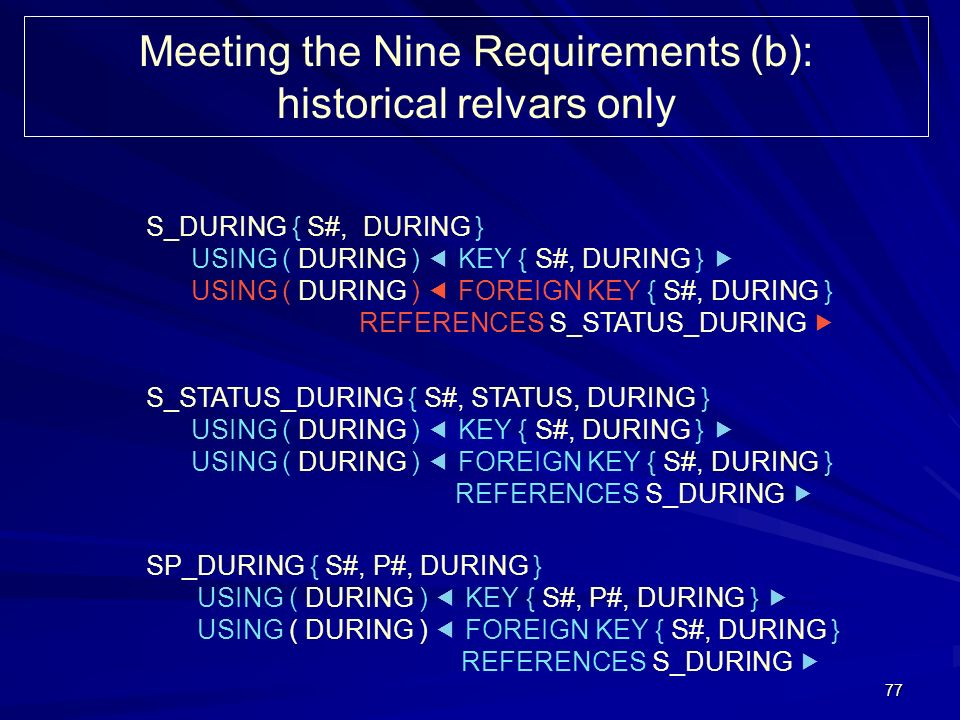 77 Meeting the Nine Requirements (b): historical relvars only S_DURING { S#, DURING } USING ( DURING ) KEY { S#, DURING } USING ( DURING ) FOREIGN KEY