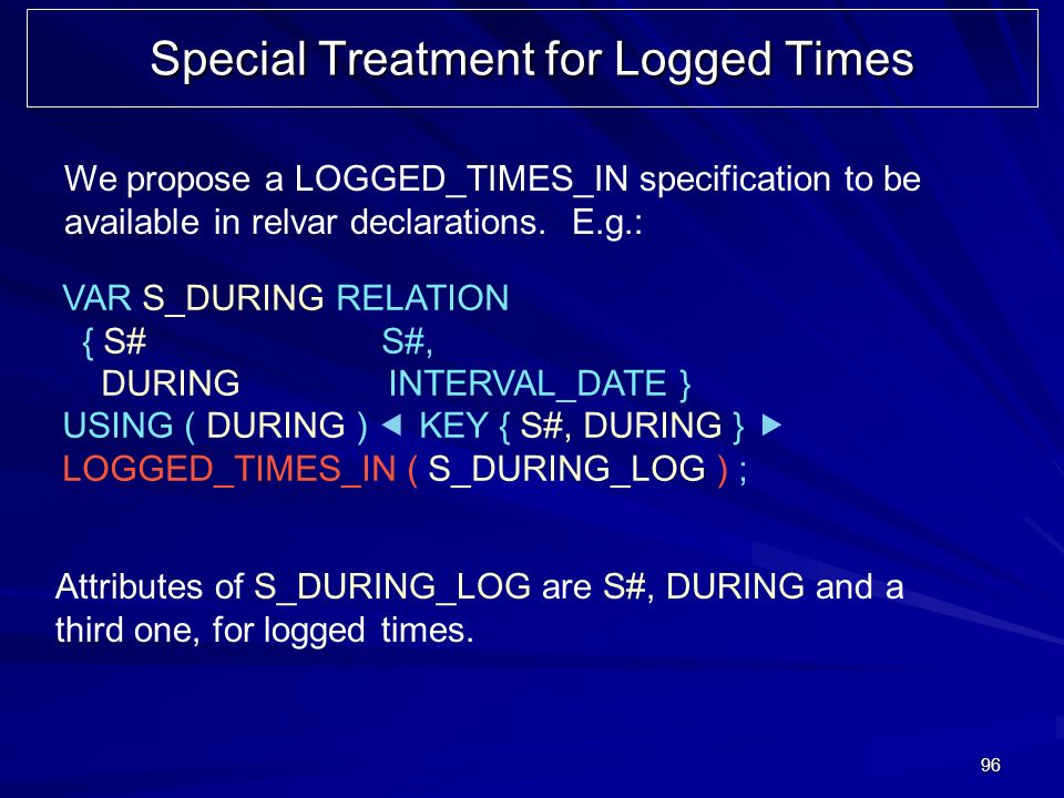 96 Special Treatment for Logged Times We propose a LOGGED_TIMES_IN specification to be available in relvar declarations. E.g.: VAR S_DURING RELATION {