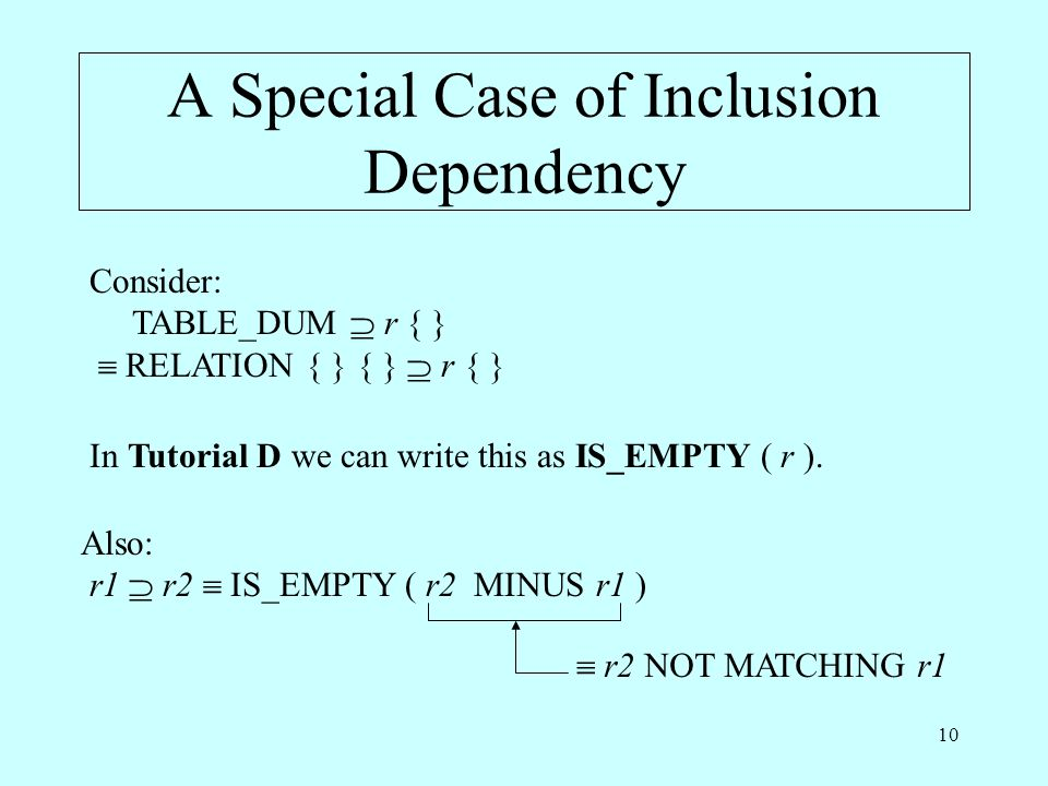 10 A Special Case of Inclusion Dependency Consider: TABLE_DUM r { } RELATION { } { } r { } In Tutorial D we can write this as IS_EMPTY ( r ). Also: r1