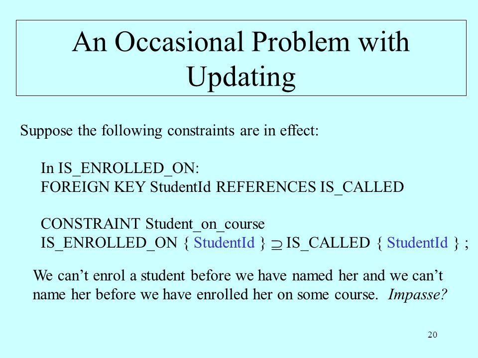 20 An Occasional Problem with Updating Suppose the following constraints are in effect: In IS_ENROLLED_ON: FOREIGN KEY StudentId REFERENCES IS_CALLED