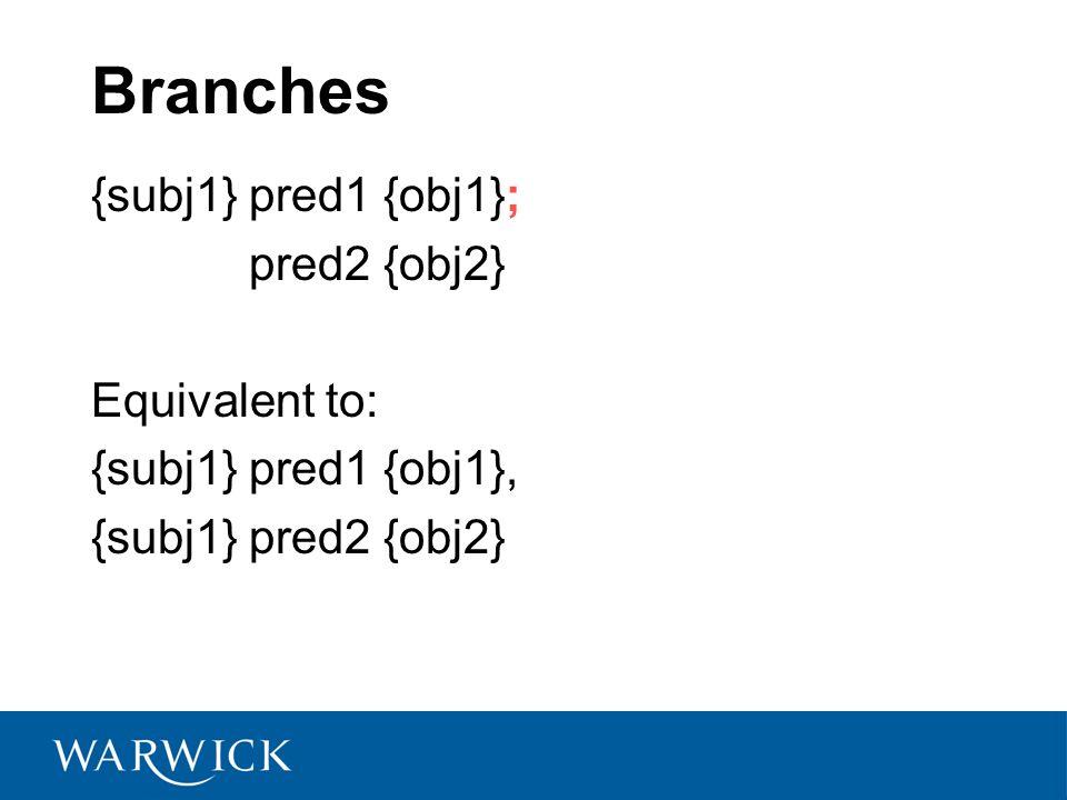 Branches {subj1} pred1 {obj1}; pred2 {obj2} Equivalent to: {subj1} pred1 {obj1}, {subj1} pred2 {obj2}