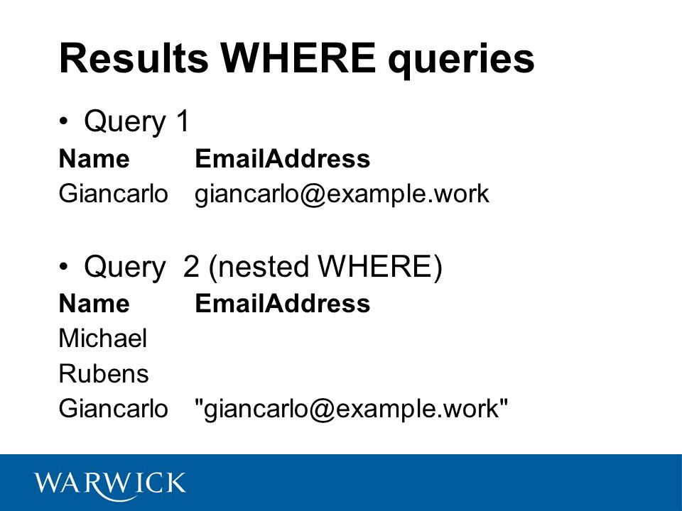 Results WHERE queries Query 1 NameEmailAddress Giancarlogiancarlo@example.work Query 2 (nested WHERE) NameEmailAddress Michael Rubens Giancarlo giancarlo@example.work