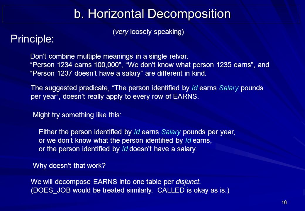 18 Principle: b. Horizontal Decomposition Dont combine multiple meanings in a single relvar.