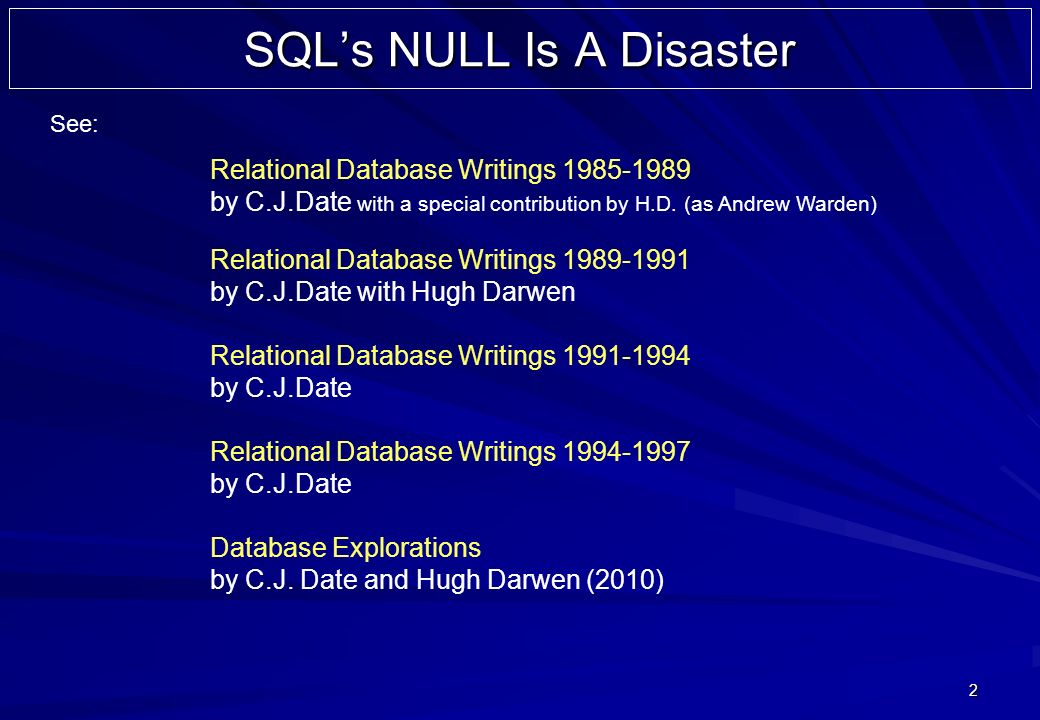 2 SQLs NULL Is A Disaster Relational Database Writings 1985-1989 by C.J.Date with a special contribution by H.D. (as Andrew Warden) Relational Databas