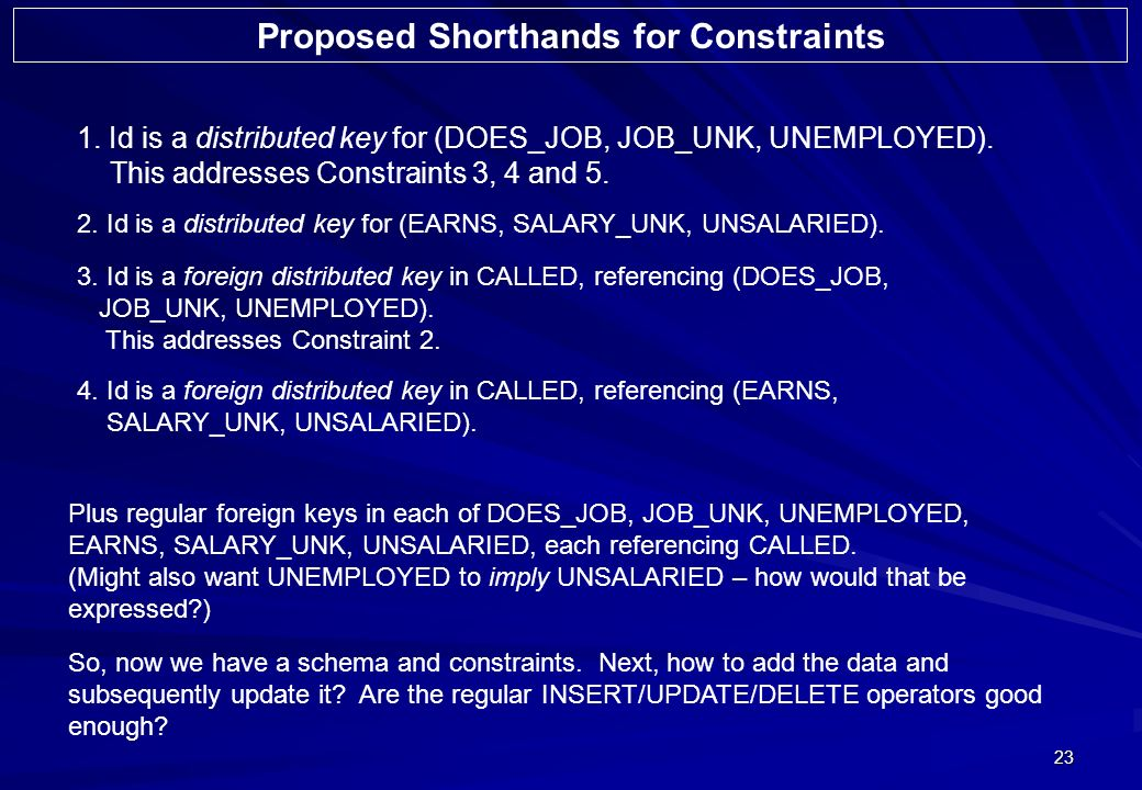 23 1. Id is a distributed key for (DOES_JOB, JOB_UNK, UNEMPLOYED). This addresses Constraints 3, 4 and 5. Proposed Shorthands for Constraints 2. Id is
