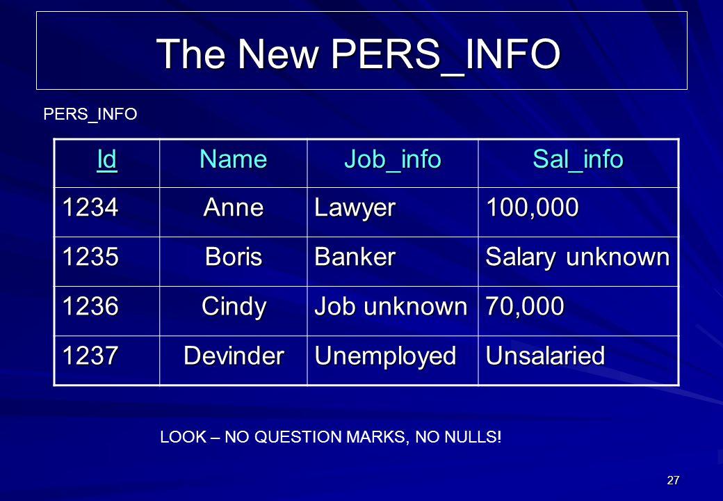 27 The New PERS_INFO IdNameJob_infoSal_info 1234AnneLawyer100,000 1235BorisBanker Salary unknown 1236Cindy Job unknown 70,000 1237DevinderUnemployedUn