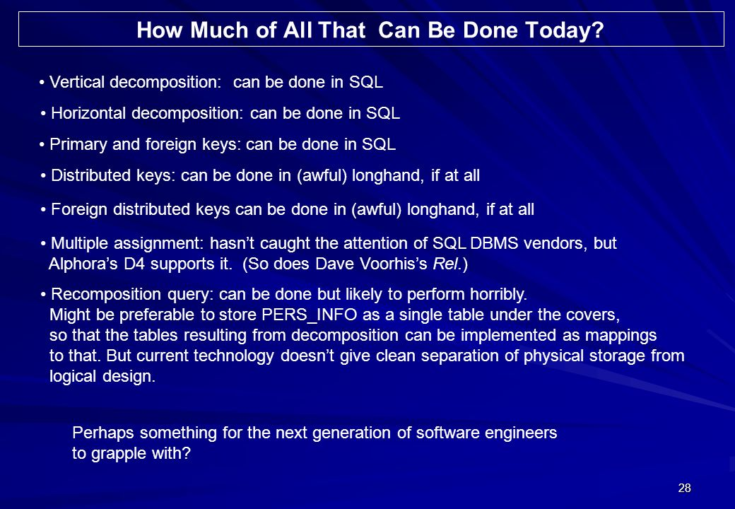 28 Vertical decomposition: can be done in SQL Horizontal decomposition: can be done in SQL Primary and foreign keys: can be done in SQL Distributed ke