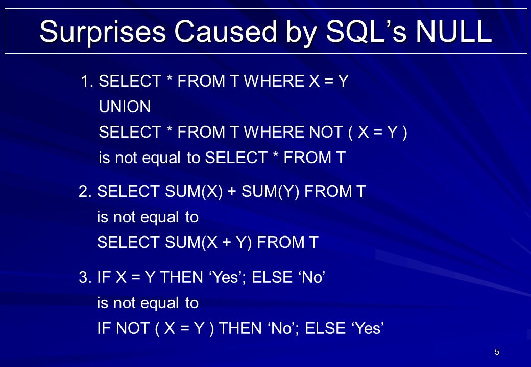 5 Surprises Caused by SQLs NULL 1.SELECT * FROM T WHERE X = Y UNION SELECT * FROM T WHERE NOT ( X = Y ) is not equal to SELECT * FROM T 2.SELECT SUM(X