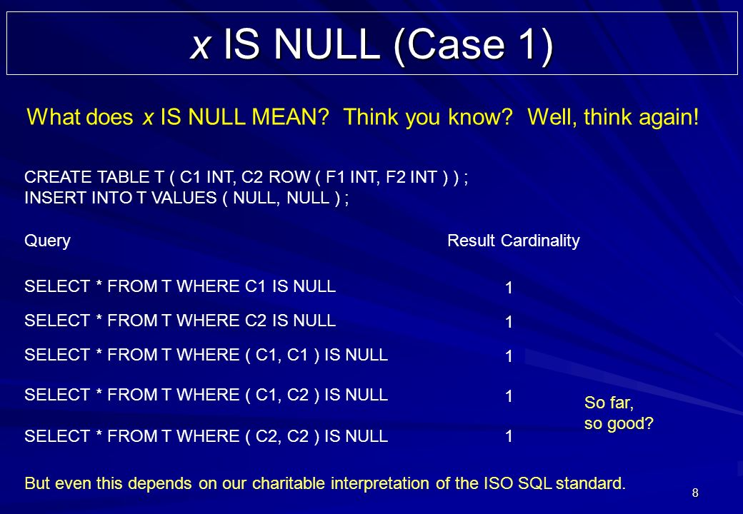 8 x IS NULL (Case 1) CREATE TABLE T ( C1 INT, C2 ROW ( F1 INT, F2 INT ) ) ; INSERT INTO T VALUES ( NULL, NULL ) ; SELECT * FROM T WHERE C1 IS NULL Query Result Cardinality 1 SELECT * FROM T WHERE C2 IS NULL 1 SELECT * FROM T WHERE ( C1, C2 ) IS NULL 1 SELECT * FROM T WHERE ( C1, C1 ) IS NULL 1 SELECT * FROM T WHERE ( C2, C2 ) IS NULL1 But even this depends on our charitable interpretation of the ISO SQL standard.