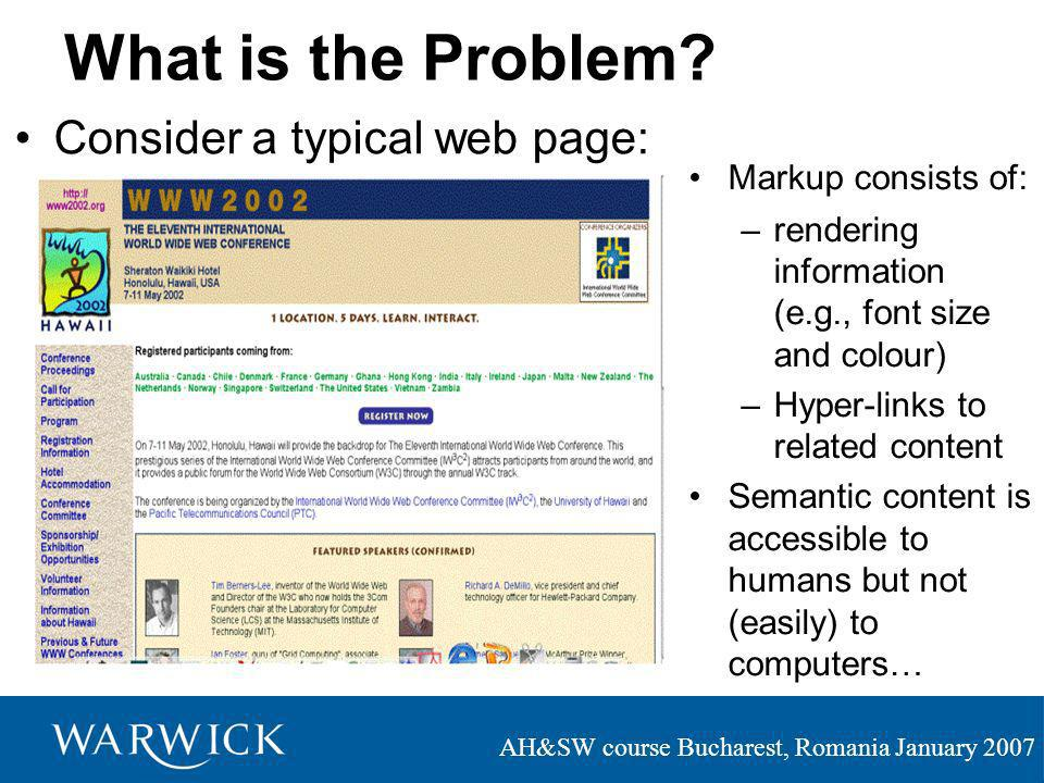 AH&SW course Bucharest, Romania January 2007 What is the Problem.