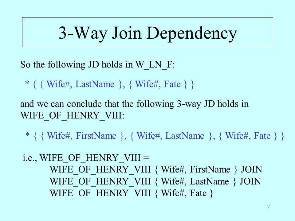7 3-Way Join Dependency So the following JD holds in W_LN_F: * { { Wife#, LastName }, { Wife#, Fate } } and we can conclude that the following 3-way JD holds in WIFE_OF_HENRY_VIII: * { { Wife#, FirstName }, { Wife#, LastName }, { Wife#, Fate } } i.e., WIFE_OF_HENRY_VIII = WIFE_OF_HENRY_VIII { Wife#, FirstName } JOIN WIFE_OF_HENRY_VIII { Wife#, LastName } JOIN WIFE_OF_HENRY_VIII { Wife#, Fate }