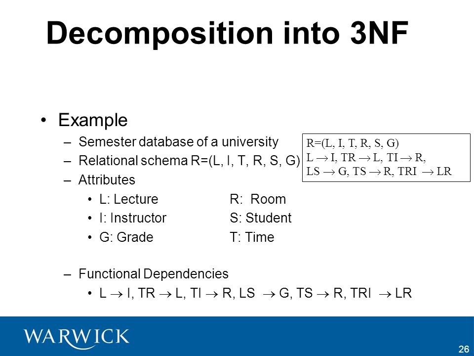 26 Decomposition into 3NF Example –Semester database of a university –Relational schema R=(L, I, T, R, S, G) –Attributes L: LectureR: Room I: Instruct