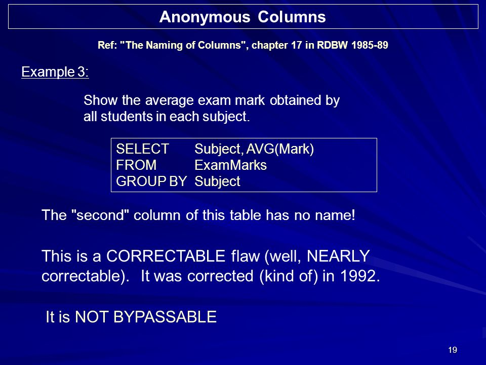 19 Ref: The Naming of Columns , chapter 17 in RDBW 1985-89 Example 3: Show the average exam mark obtained by all students in each subject.