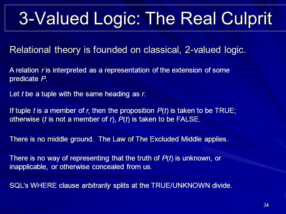 34 3-Valued Logic: The Real Culprit Relational theory is founded on classical, 2-valued logic.