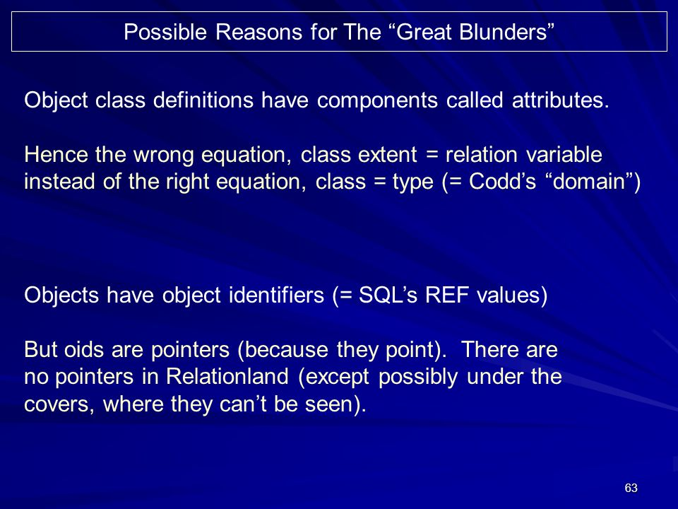 63 Possible Reasons for The Great Blunders Object class definitions have components called attributes.