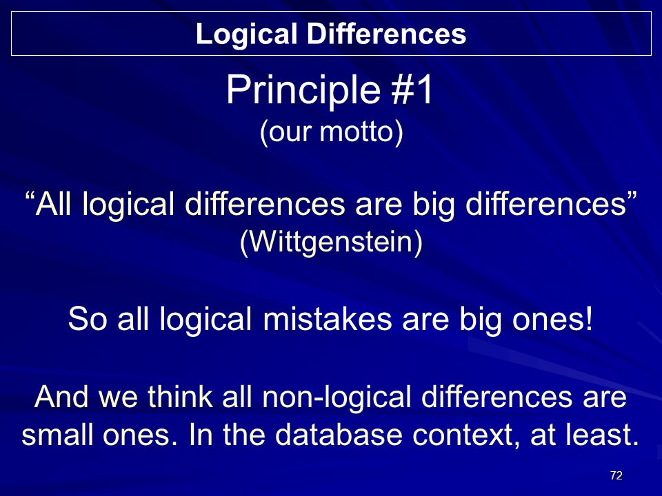 72 Principle #1 (our motto) All logical differences are big differences (Wittgenstein) So all logical mistakes are big ones.