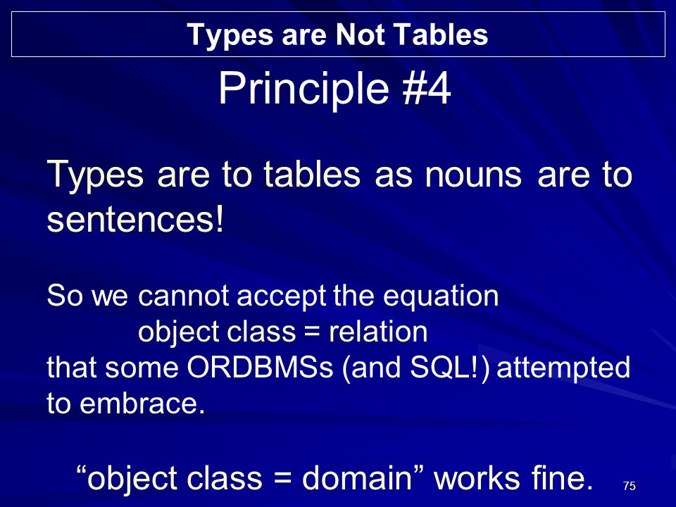 75 Principle #4 Types are to tables as nouns are to sentences.