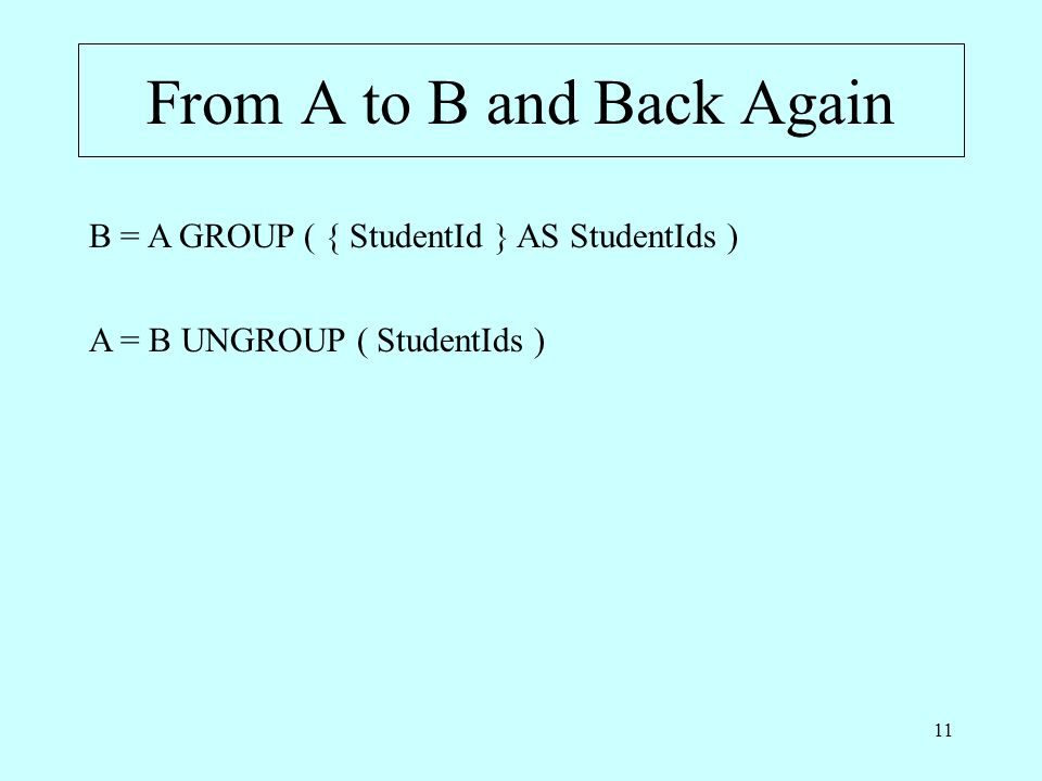 11 From A to B and Back Again B = A GROUP ( { StudentId } AS StudentIds ) A = B UNGROUP ( StudentIds )