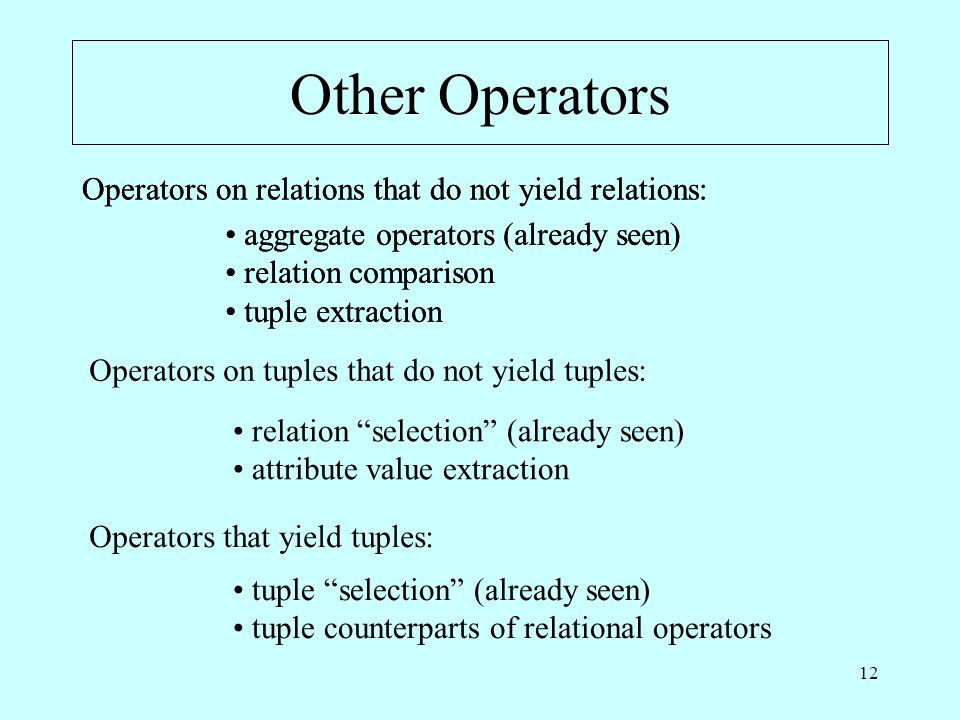 12 Other Operators Operators on relations that do not yield relations: aggregate operators (already seen) relation comparison tuple extraction Operato