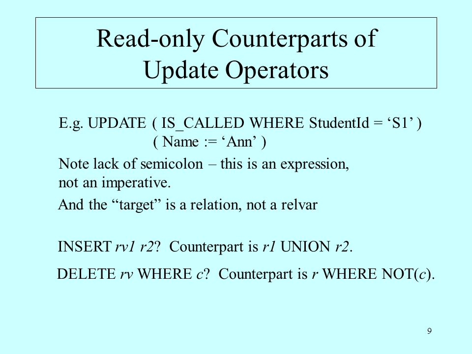 9 Read-only Counterparts of Update Operators E.g.