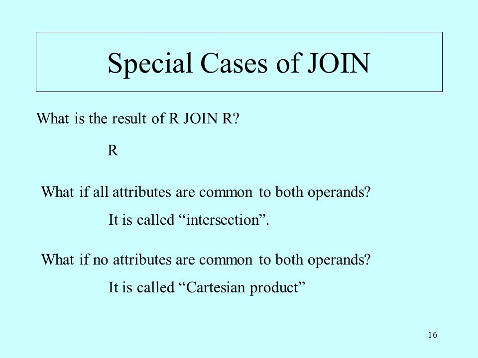 16 Special Cases of JOIN What is the result of R JOIN R.